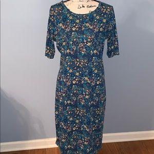 LULAROE Julia dress. NWOT navy aqua gold